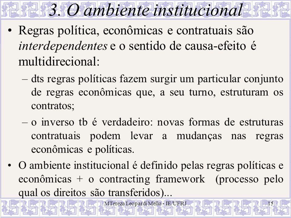 MTereza Leopardi Mello - IE/UFRJ15 3. O ambiente institucional Regras política, econômicas e contratuais são interdependentes e o sentido de causa-efe