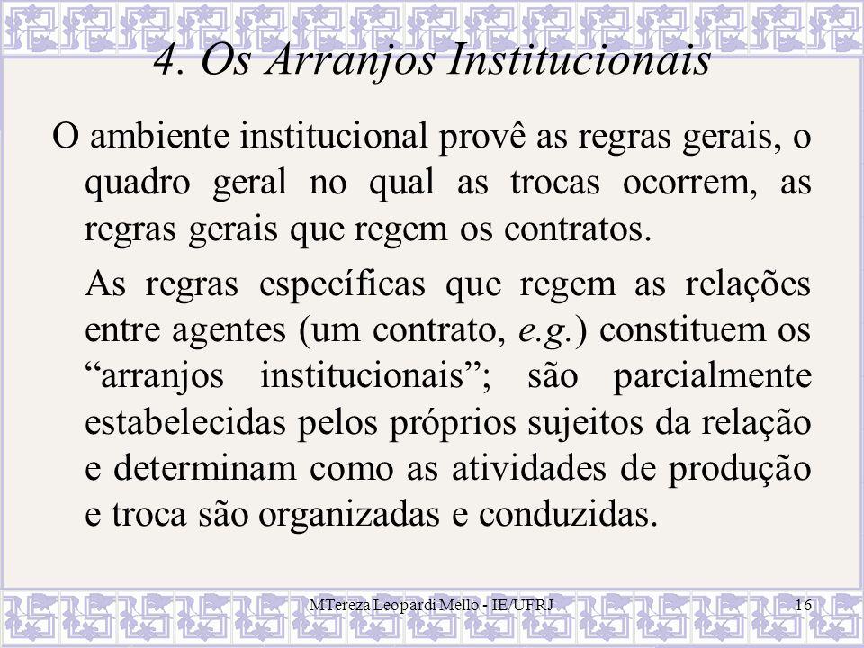 MTereza Leopardi Mello - IE/UFRJ16 4. Os Arranjos Institucionais O ambiente institucional provê as regras gerais, o quadro geral no qual as trocas oco