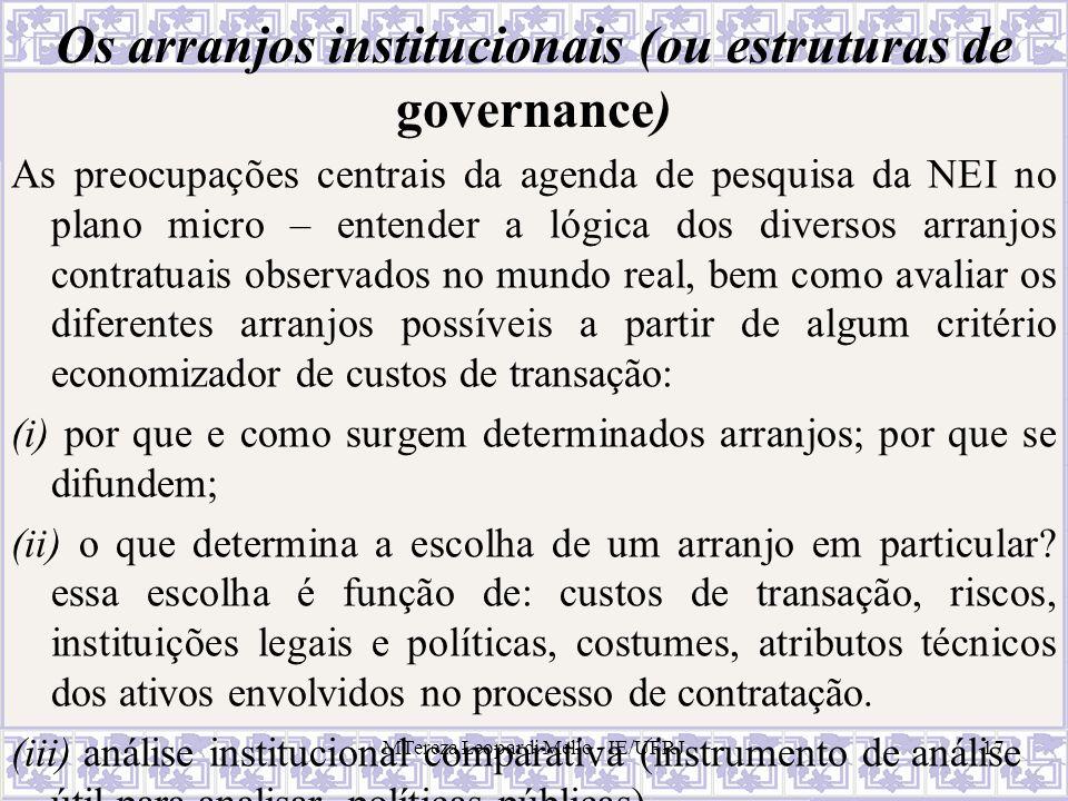 MTereza Leopardi Mello - IE/UFRJ17 Os arranjos institucionais (ou estruturas de governance) As preocupações centrais da agenda de pesquisa da NEI no p