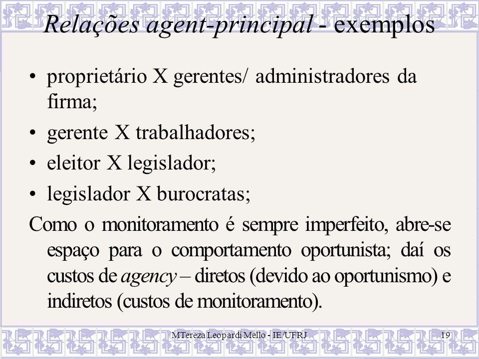 MTereza Leopardi Mello - IE/UFRJ19 Relações agent-principal - exemplos proprietário X gerentes/ administradores da firma; gerente X trabalhadores; ele