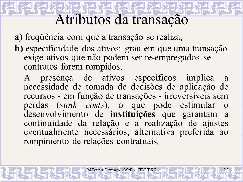 MTereza Leopardi Mello - IE/UFRJ22 Atributos da transação a) freqüência com que a transação se realiza, b) especificidade dos ativos: grau em que uma