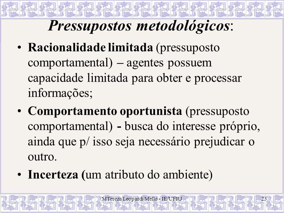 MTereza Leopardi Mello - IE/UFRJ23 Pressupostos metodológicos: Racionalidade limitada (pressuposto comportamental) – agentes possuem capacidade limita