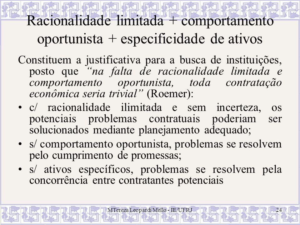 MTereza Leopardi Mello - IE/UFRJ24 Racionalidade limitada + comportamento oportunista + especificidade de ativos Constituem a justificativa para a bus
