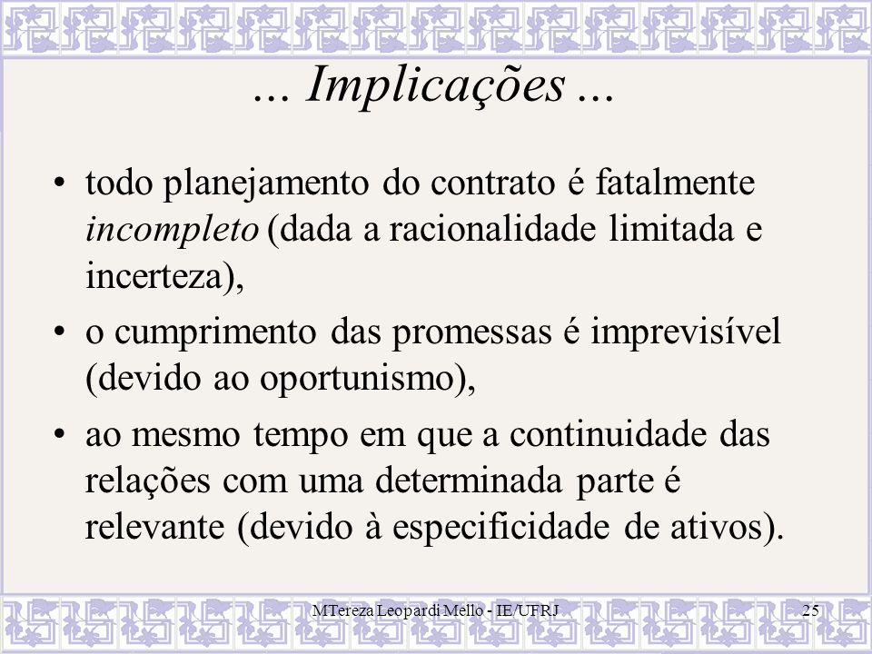 MTereza Leopardi Mello - IE/UFRJ25... Implicações... todo planejamento do contrato é fatalmente incompleto (dada a racionalidade limitada e incerteza)