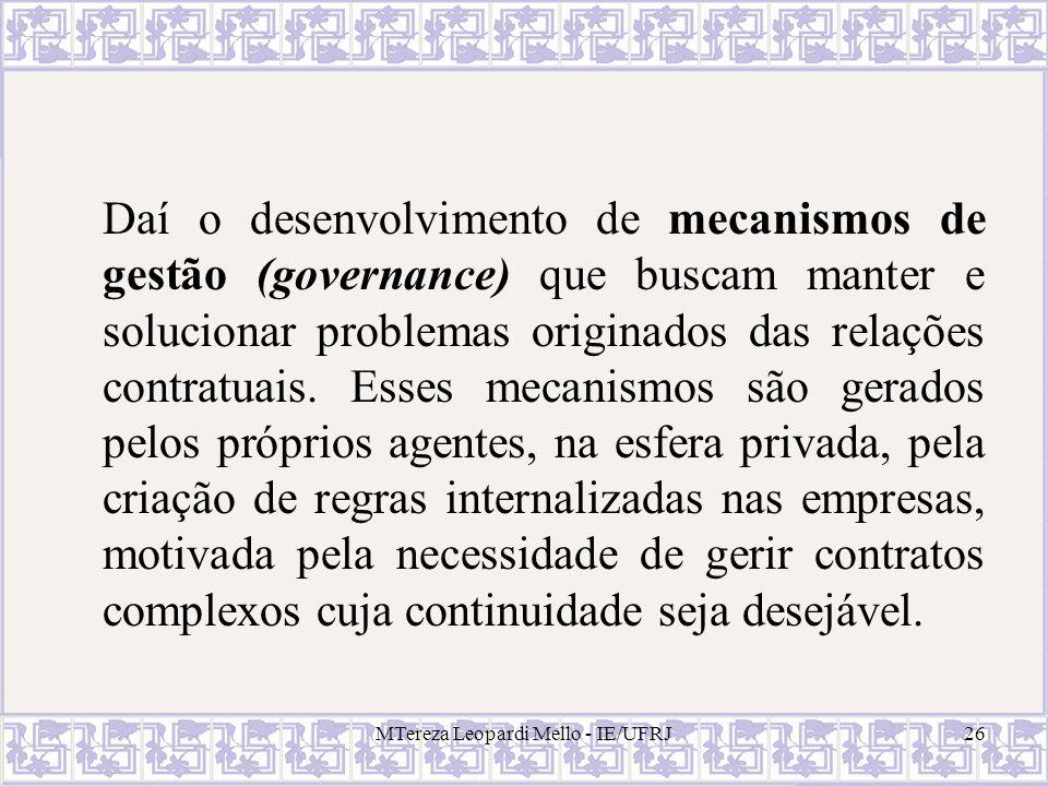 MTereza Leopardi Mello - IE/UFRJ26 Daí o desenvolvimento de mecanismos de gestão (governance) que buscam manter e solucionar problemas originados das