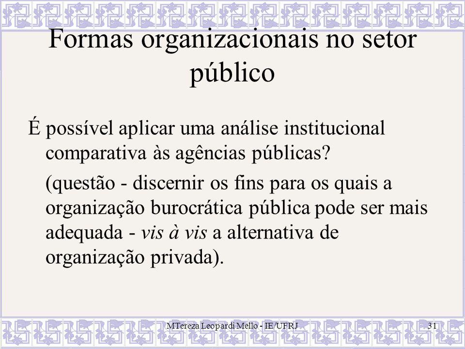 MTereza Leopardi Mello - IE/UFRJ31 Formas organizacionais no setor público É possível aplicar uma análise institucional comparativa às agências públic