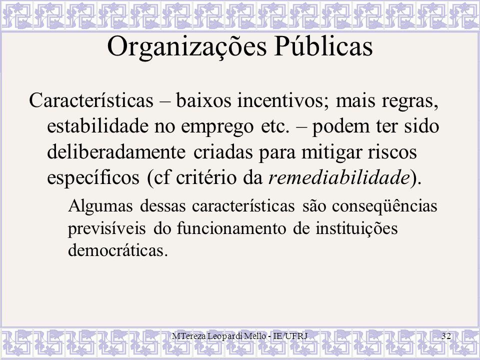 MTereza Leopardi Mello - IE/UFRJ32 Organizações Públicas Características – baixos incentivos; mais regras, estabilidade no emprego etc. – podem ter si