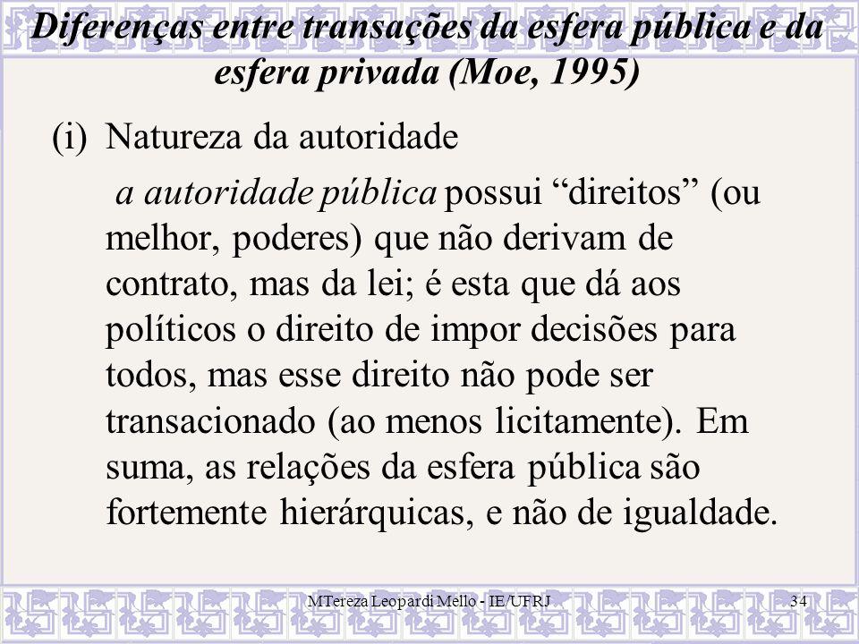 MTereza Leopardi Mello - IE/UFRJ34 Diferenças entre transações da esfera pública e da esfera privada (Moe, 1995) (i)Natureza da autoridade a autoridad