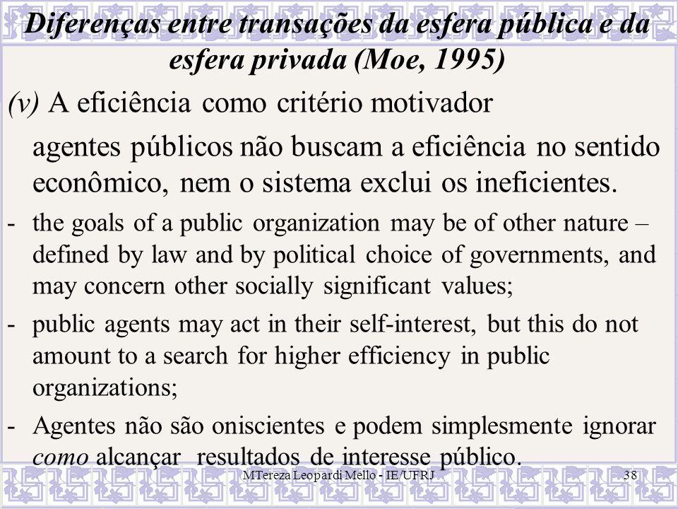 MTereza Leopardi Mello - IE/UFRJ38 Diferenças entre transações da esfera pública e da esfera privada (Moe, 1995) (v) A eficiência como critério motiva