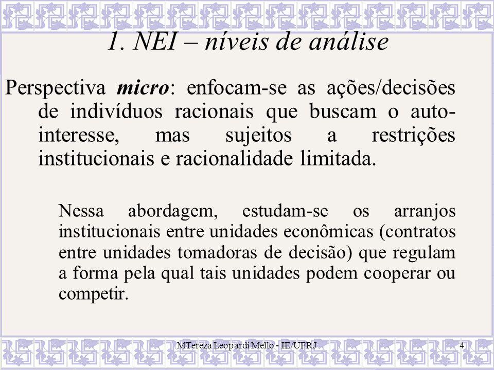 MTereza Leopardi Mello - IE/UFRJ4 1. NEI – níveis de análise Perspectiva micro: enfocam-se as ações/decisões de indivíduos racionais que buscam o auto