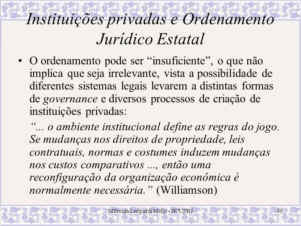 MTereza Leopardi Mello - IE/UFRJ40 Instituições privadas e Ordenamento Jurídico Estatal O ordenamento pode ser insuficiente, o que não implica que sej