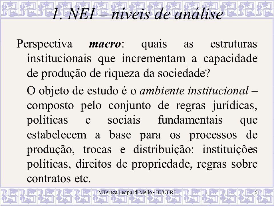 MTereza Leopardi Mello - IE/UFRJ5 1. NEI – níveis de análise Perspectiva macro: quais as estruturas institucionais que incrementam a capacidade de pro
