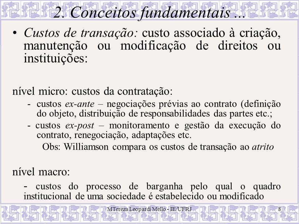 MTereza Leopardi Mello - IE/UFRJ8 2. Conceitos fundamentais... Custos de transação: custo associado à criação, manutenção ou modificação de direitos o