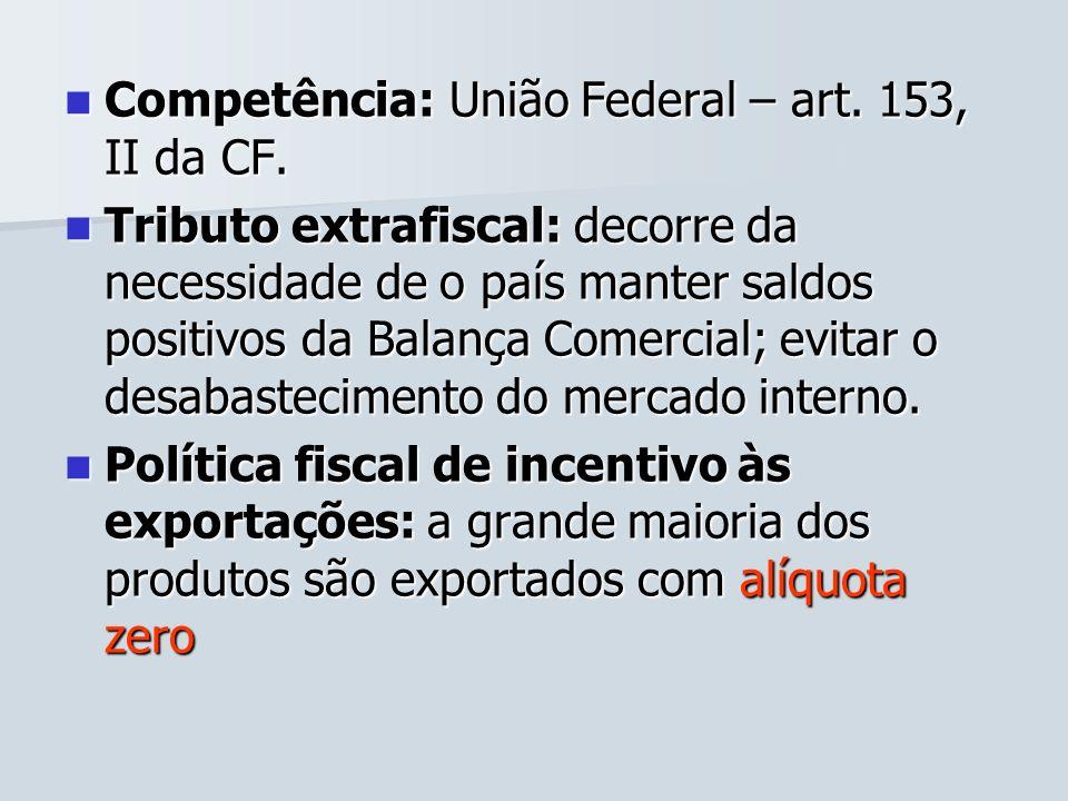 Competência: União Federal – art. 153, II da CF. Competência: União Federal – art. 153, II da CF. Tributo extrafiscal: decorre da necessidade de o paí