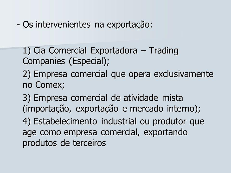 - Os intervenientes na exportação: - Os intervenientes na exportação: 1) Cia Comercial Exportadora – Trading Companies (Especial); 2) Empresa comercia