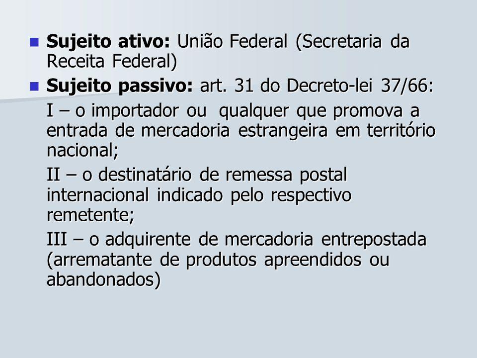Sujeito ativo: União Federal (Secretaria da Receita Federal) Sujeito ativo: União Federal (Secretaria da Receita Federal) Sujeito passivo: art. 31 do