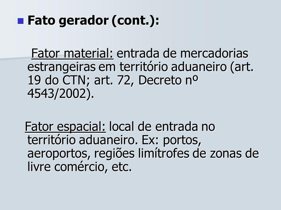 Fato gerador (cont.): Fato gerador (cont.): Fator material: entrada de mercadorias estrangeiras em território aduaneiro (art. 19 do CTN; art. 72, Decr