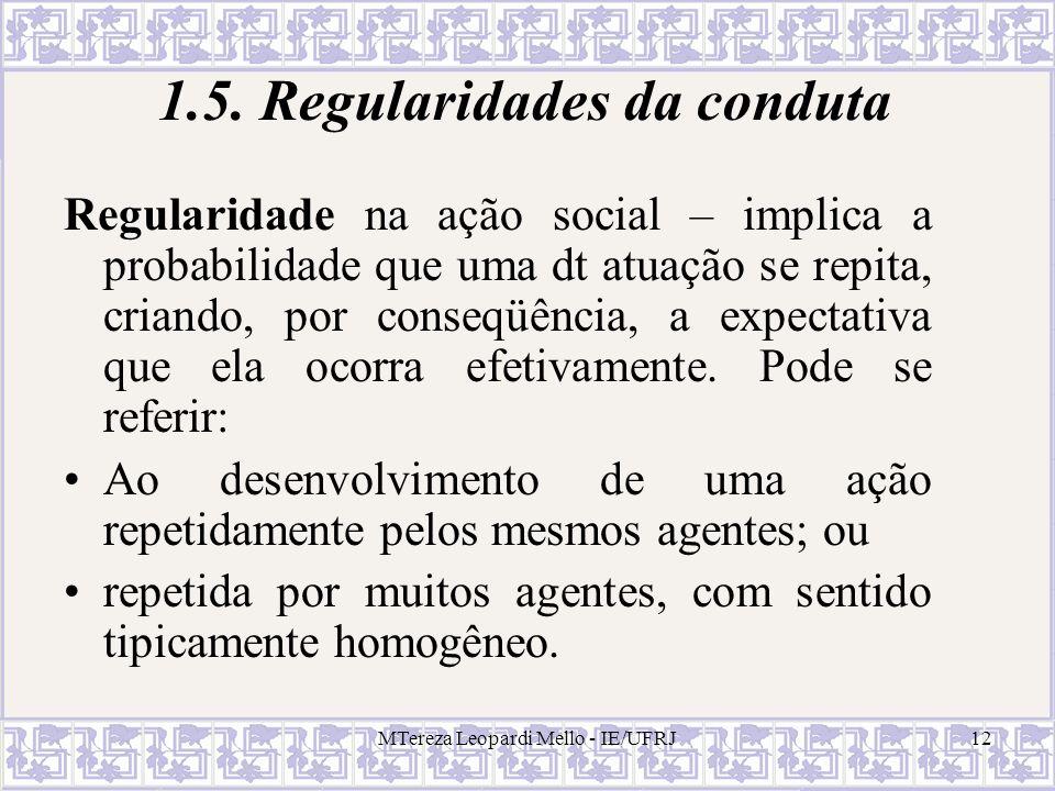 MTereza Leopardi Mello - IE/UFRJ12 1.5. Regularidades da conduta Regularidade na ação social – implica a probabilidade que uma dt atuação se repita, c