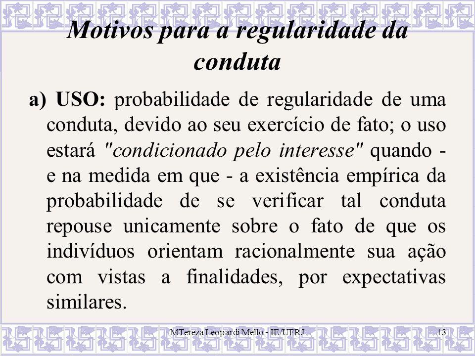 MTereza Leopardi Mello - IE/UFRJ13 Motivos para a regularidade da conduta a) USO: probabilidade de regularidade de uma conduta, devido ao seu exercíci