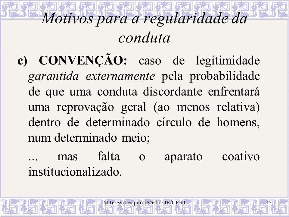 MTereza Leopardi Mello - IE/UFRJ15 Motivos para a regularidade da conduta c) CONVENÇÃO: caso de legitimidade garantida externamente pela probabilidade