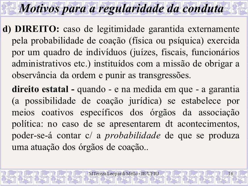 MTereza Leopardi Mello - IE/UFRJ16 Motivos para a regularidade da conduta d) DIREITO: caso de legitimidade garantida externamente pela probabilidade d