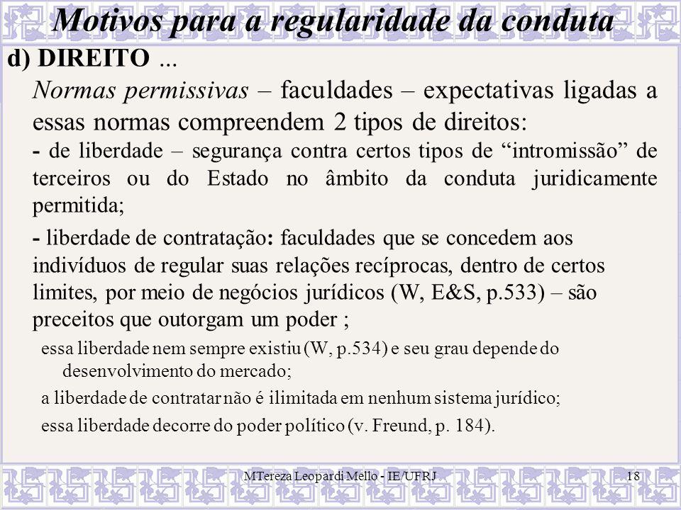 MTereza Leopardi Mello - IE/UFRJ18 Motivos para a regularidade da conduta d) DIREITO... Normas permissivas – faculdades – expectativas ligadas a essas
