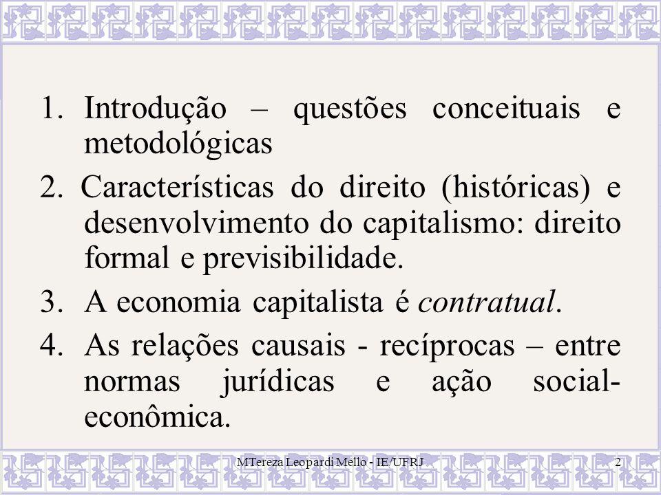 MTereza Leopardi Mello - IE/UFRJ2 1.Introdução – questões conceituais e metodológicas 2. Características do direito (históricas) e desenvolvimento do