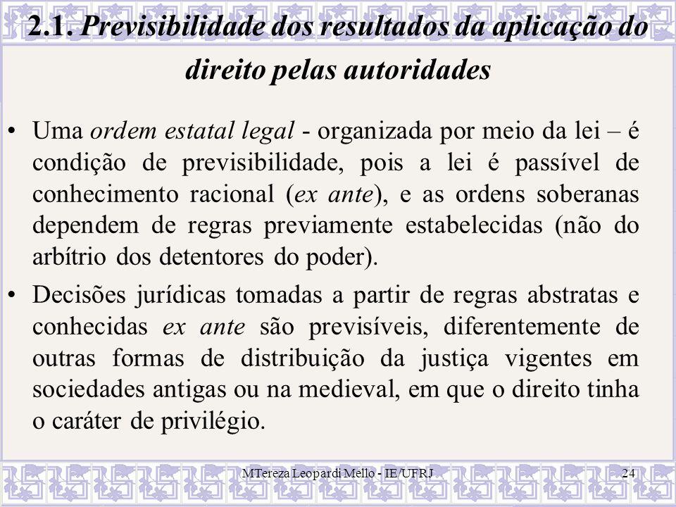 MTereza Leopardi Mello - IE/UFRJ24 2.1. Previsibilidade dos resultados da aplicação do direito pelas autoridades Uma ordem estatal legal - organizada