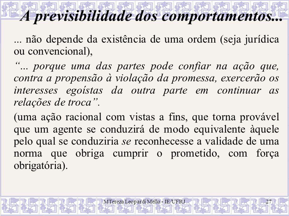 MTereza Leopardi Mello - IE/UFRJ27 A previsibilidade dos comportamentos...... não depende da existência de uma ordem (seja jurídica ou convencional),.