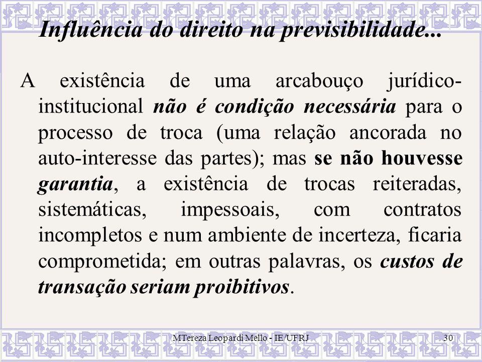MTereza Leopardi Mello - IE/UFRJ30 Influência do direito na previsibilidade... A existência de uma arcabouço jurídico- institucional não é condição ne