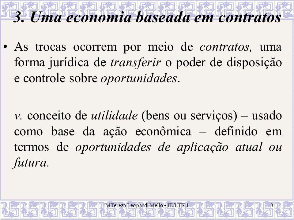 MTereza Leopardi Mello - IE/UFRJ31 3. Uma economia baseada em contratos As trocas ocorrem por meio de contratos, uma forma jurídica de transferir o po