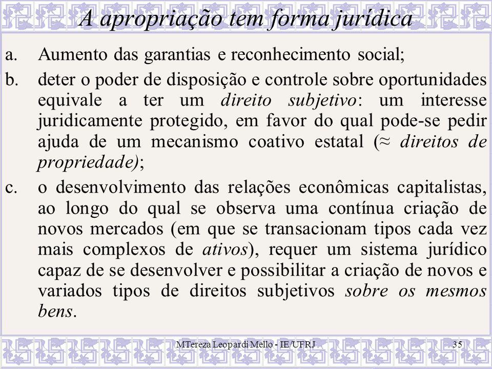 MTereza Leopardi Mello - IE/UFRJ35 A apropriação tem forma jurídica a.Aumento das garantias e reconhecimento social; b.deter o poder de disposição e c