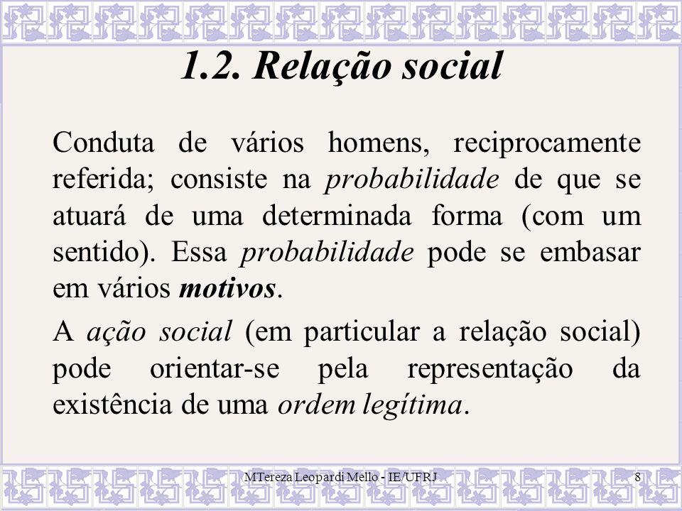 8 1.2. Relação social Conduta de vários homens, reciprocamente referida; consiste na probabilidade de que se atuará de uma determinada forma (com um s
