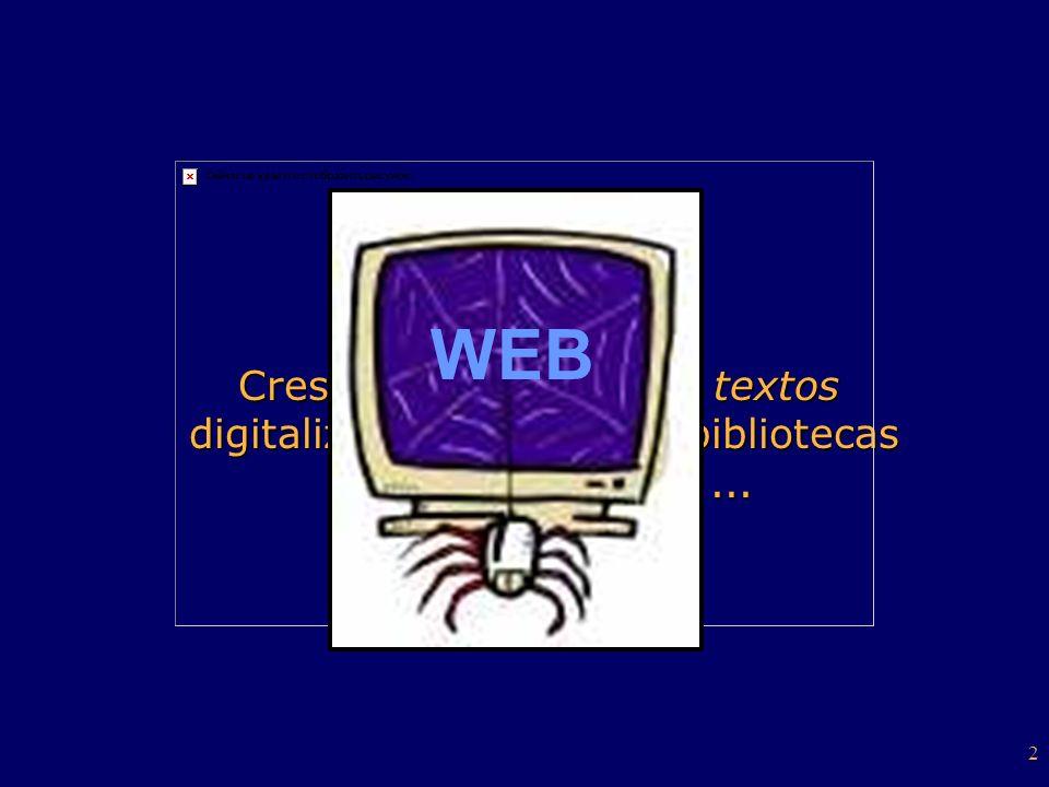 2 Crescente números de textos digitalizados: intranets, bibliotecas digitais, CD-Rom,... Crescente números de textos digitalizados: intranets, bibliot
