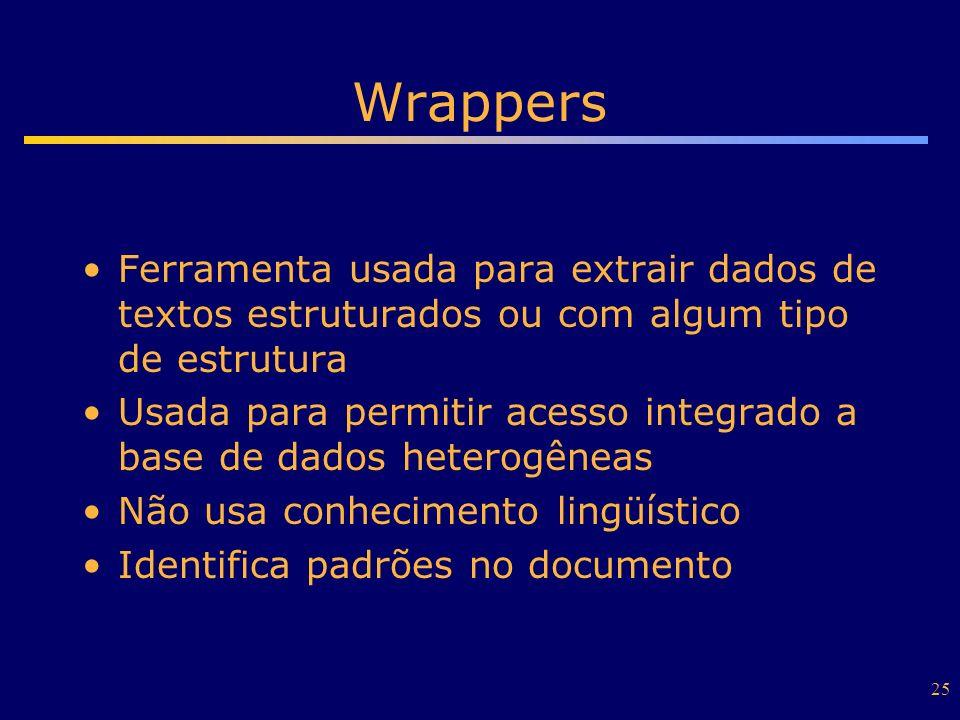 25 Wrappers Ferramenta usada para extrair dados de textos estruturados ou com algum tipo de estrutura Usada para permitir acesso integrado a base de d