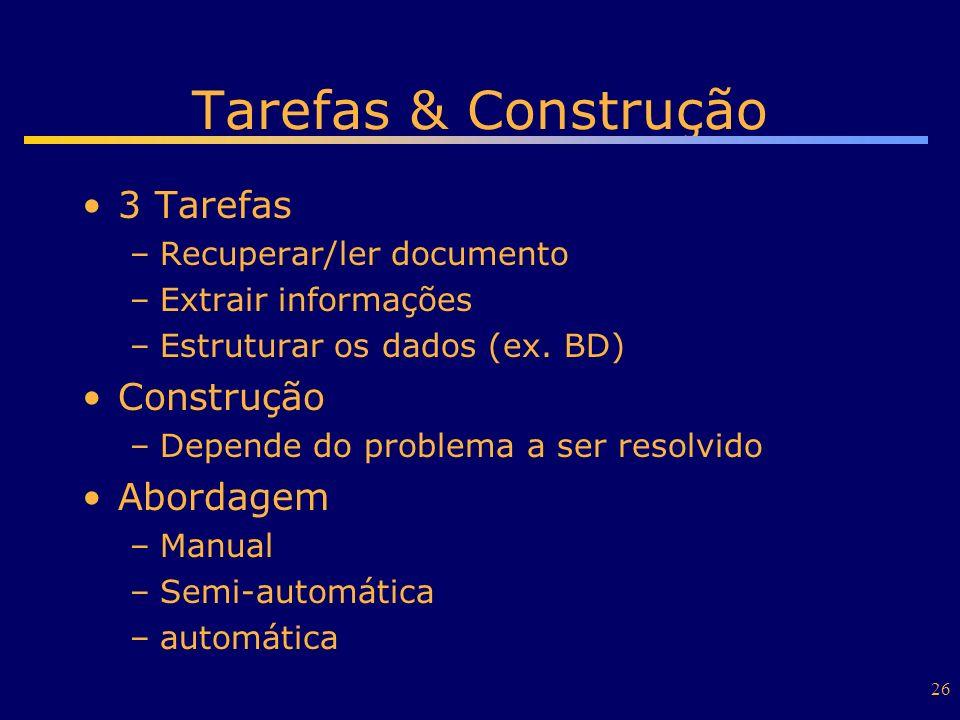 26 Tarefas & Construção 3 Tarefas –Recuperar/ler documento –Extrair informações –Estruturar os dados (ex. BD) Construção –Depende do problema a ser re