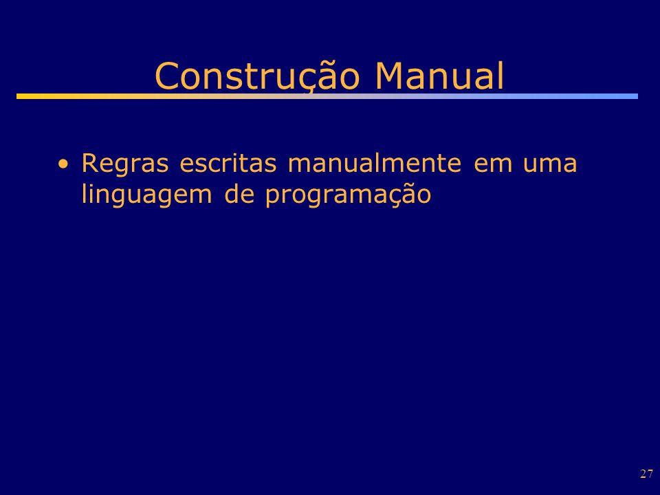 27 Construção Manual Regras escritas manualmente em uma linguagem de programação