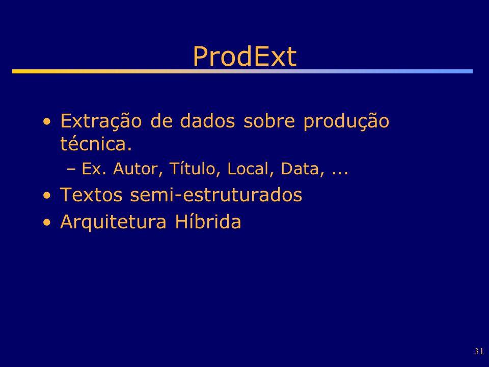 31 ProdExt Extração de dados sobre produção técnica. –Ex. Autor, Título, Local, Data,... Textos semi-estruturados Arquitetura Híbrida
