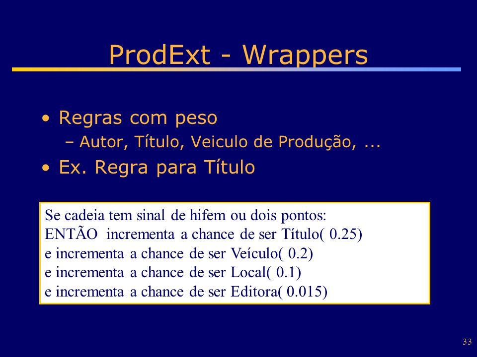 33 ProdExt - Wrappers Regras com peso –Autor, Título, Veiculo de Produção,... Ex. Regra para Título Se cadeia tem sinal de hifem ou dois pontos: ENTÃO