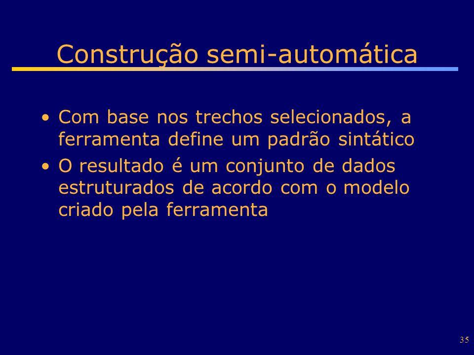 35 Construção semi-automática Com base nos trechos selecionados, a ferramenta define um padrão sintático O resultado é um conjunto de dados estruturad