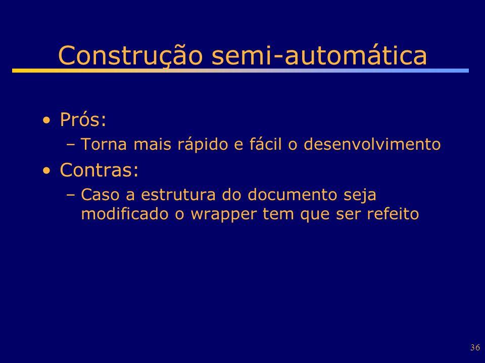 36 Construção semi-automática Prós: –Torna mais rápido e fácil o desenvolvimento Contras: –Caso a estrutura do documento seja modificado o wrapper tem