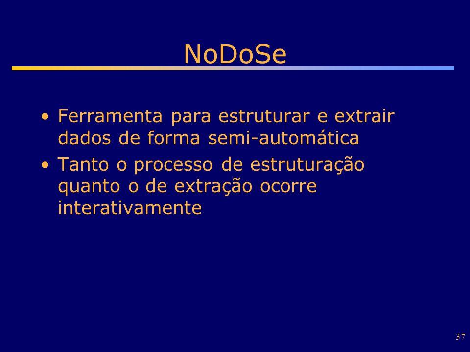 37 NoDoSe Ferramenta para estruturar e extrair dados de forma semi-automática Tanto o processo de estruturação quanto o de extração ocorre interativam