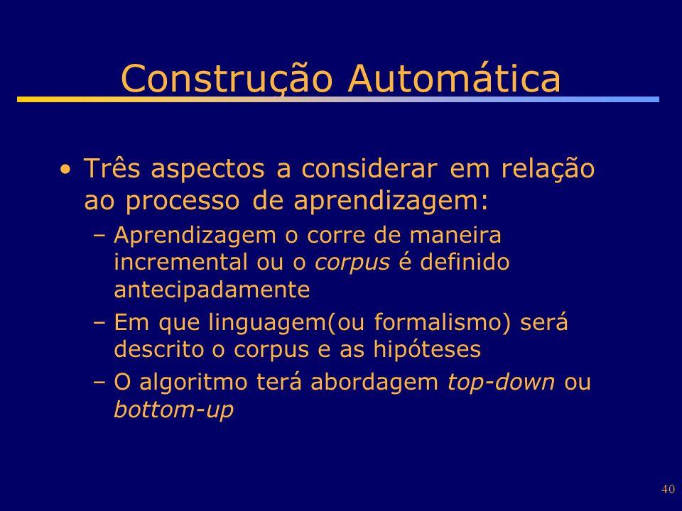 40 Construção Automática Três aspectos a considerar em relação ao processo de aprendizagem: –Aprendizagem o corre de maneira incremental ou o corpus é