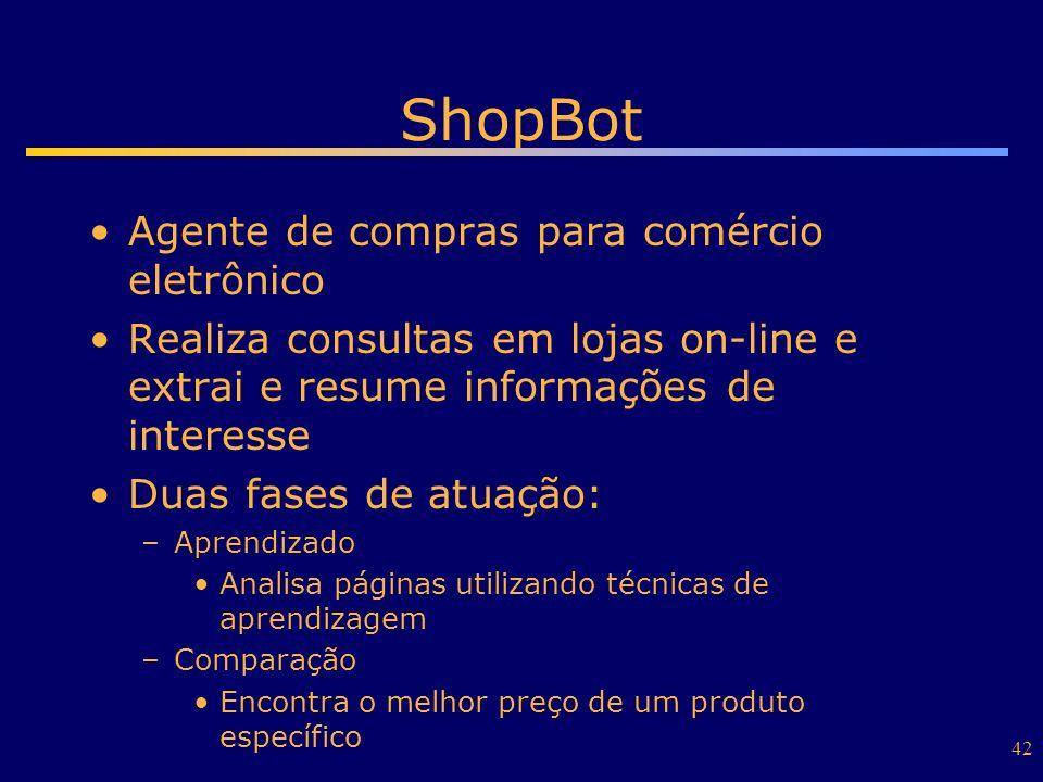 42 ShopBot Agente de compras para comércio eletrônico Realiza consultas em lojas on-line e extrai e resume informações de interesse Duas fases de atua