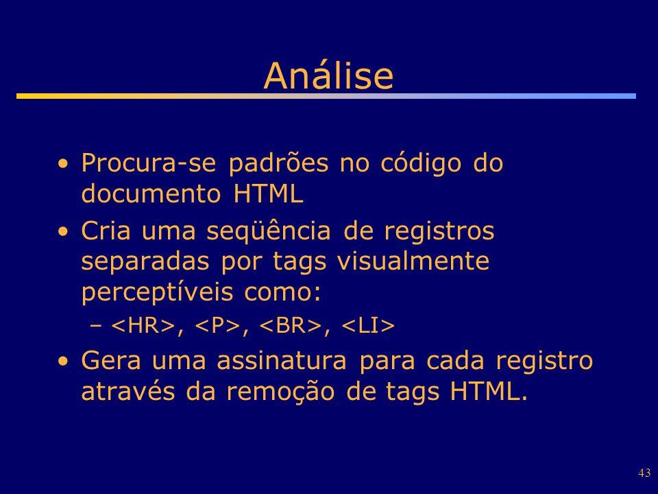 43 Análise Procura-se padrões no código do documento HTML Cria uma seqüência de registros separadas por tags visualmente perceptíveis como: –,,, Gera