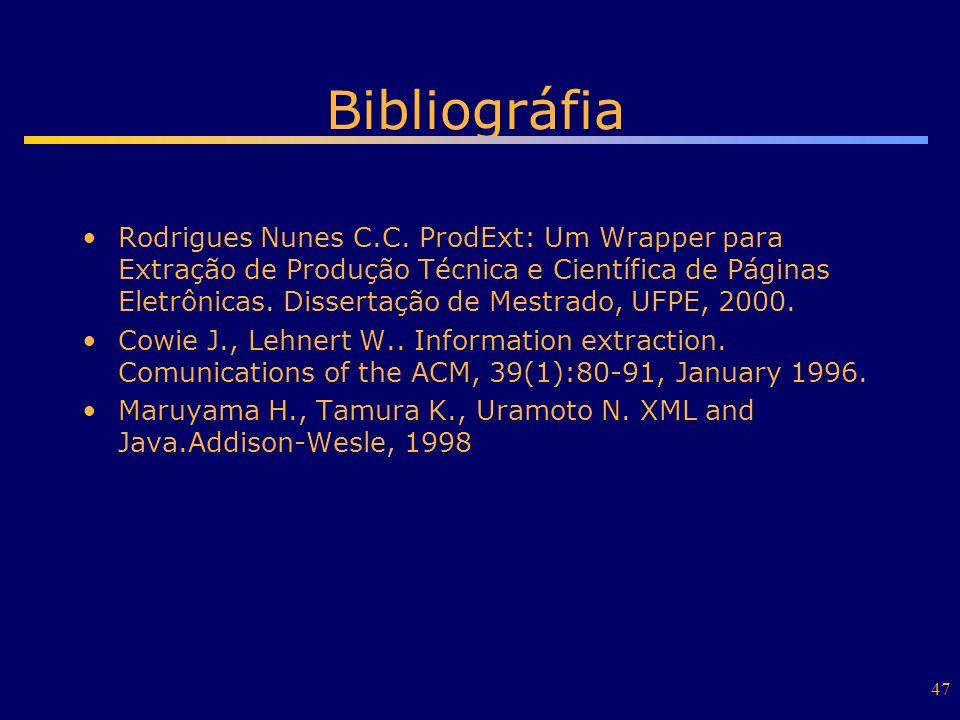 47 Bibliográfia Rodrigues Nunes C.C. ProdExt: Um Wrapper para Extração de Produção Técnica e Científica de Páginas Eletrônicas. Dissertação de Mestrad