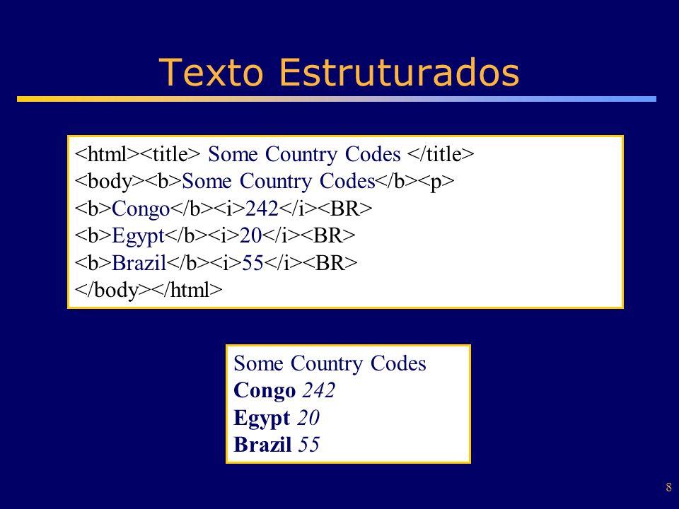 8 Texto Estruturados Some Country Codes Congo 242 Egypt 20 Brazil 55 Some Country Codes Congo 242 Egypt 20 Brazil 55