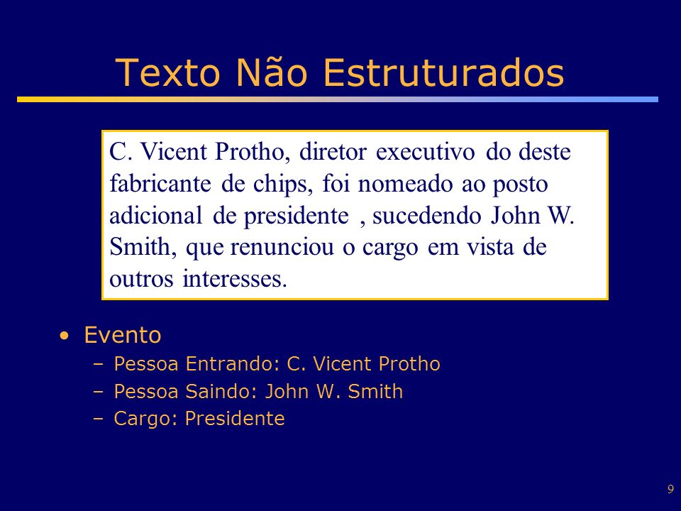 9 Texto Não Estruturados Evento –Pessoa Entrando: C. Vicent Protho –Pessoa Saindo: John W. Smith –Cargo: Presidente C. Vicent Protho, diretor executiv
