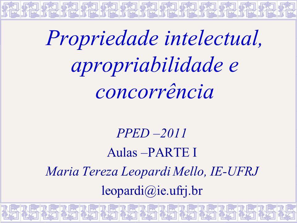 Propriedade intelectual, apropriabilidade e concorrência PPED –2011 Aulas –PARTE I Maria Tereza Leopardi Mello, IE-UFRJ leopardi@ie.ufrj.br
