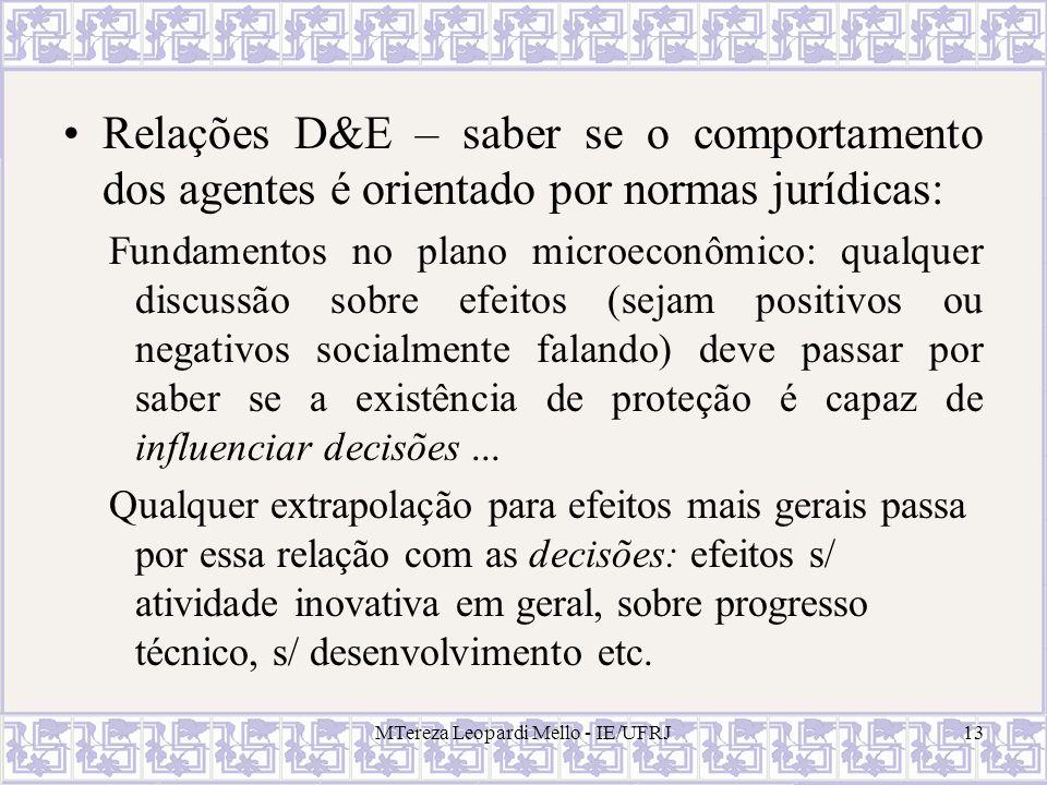 Relações D&E – saber se o comportamento dos agentes é orientado por normas jurídicas: Fundamentos no plano microeconômico: qualquer discussão sobre ef
